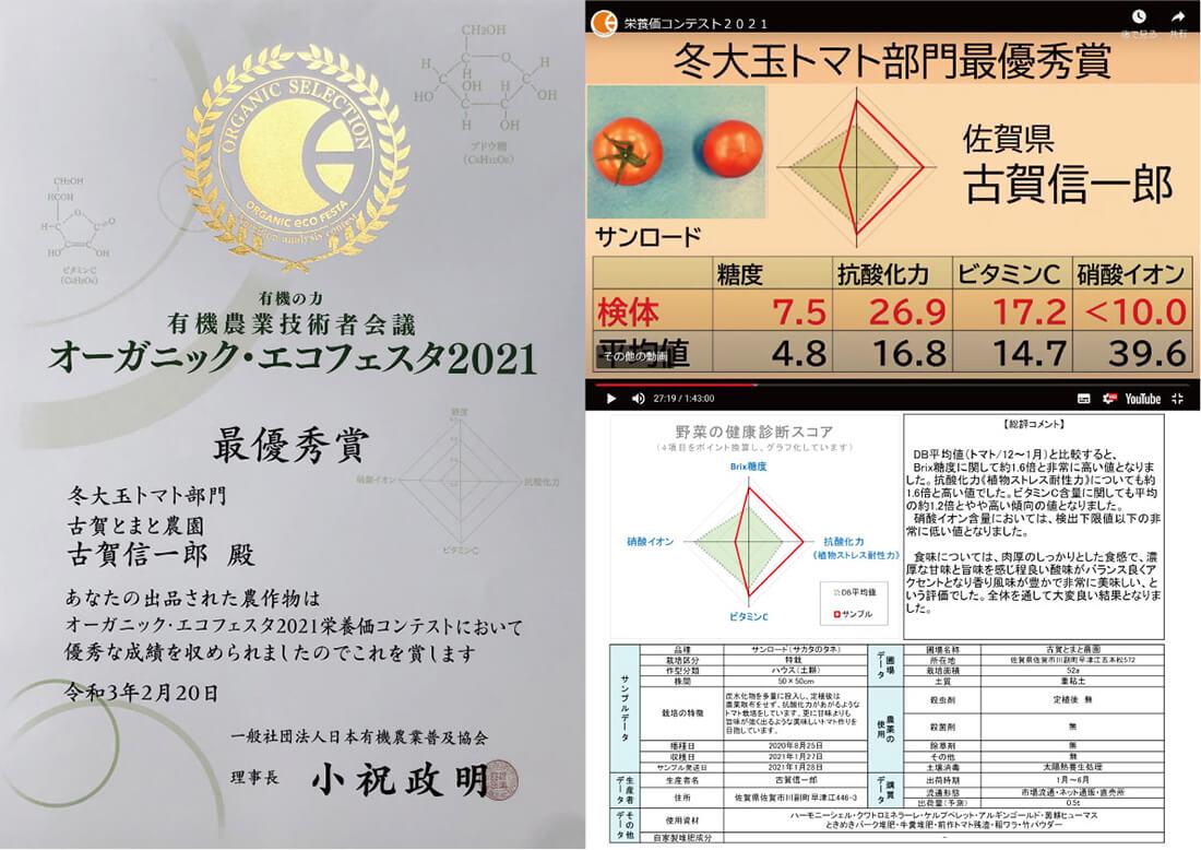 オーガニック・エコフェスタ2021 in徳島 賞状
